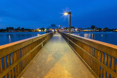 Evening light on the fishing pier in Fort Myers Beach. Royalty Free Stock Image