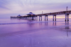 Evening light on the fishing pier in Fort Myers Beach. Evening light on the fishing pier in Fort Myers Beach, Gulf of Mexico Coast, Florida Stock Photos