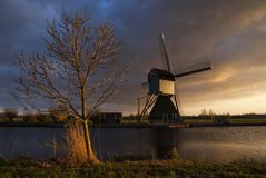 Evening light at Kinderdijk stock photo