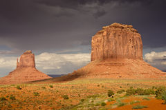 Evening Light at Monument Valley. Majestic sandstone monoliths in evening light after thunderstorms at Monument Valley stock photos