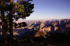 Evening light on the North Rim from Point Imperial Royalty Free Stock Photo