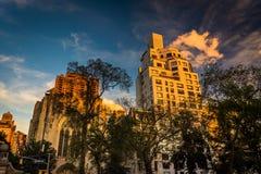 Evening light on old buildings in Upper East Side, Manhattan, Ne Stock Photo