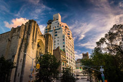 Evening light on old buildings in Upper East Side, Manhattan, Ne Royalty Free Stock Images