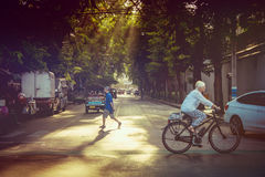 The Evening light on the old street in Bangkok Royalty Free Stock Photos