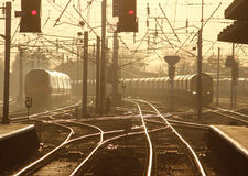 Evening light on rails and up sun view of trains Stock Image