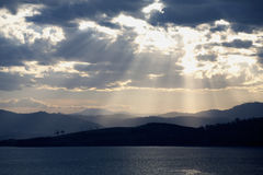 Evening light rays. Over the bay in Tasmania, Australia Royalty Free Stock Photography