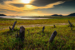 The evening light reservoirs. Stock Photography