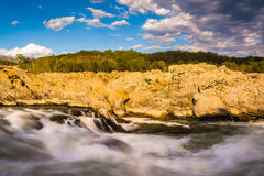 Evening light on rocks and rapids in the Potomac River, at Great Stock Image