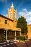 Evening light on San Felipe Neri Church, in Old Town,  Albuquerq Stock Photos
