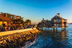 Evening light at Seaport Village, in San Diego, California. Royalty Free Stock Photography