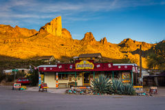 Evening light on a shop and mountains in Oatman, Arizona. Stock Images