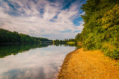 Evening light on the shore of Lake Marburg, in Codorus State Par Stock Photos