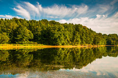 Evening light on the shore of Lake Marburg, in Codorus State Par Stock Photo