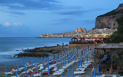 Evening light on sicilian town of Cefalu Royalty Free Stock Images