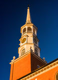 Evening light on the steeple of a church in York, Pennsylvania. Royalty Free Stock Images