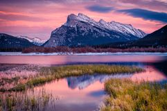 Evening light at Vermillion Lakes and Mount Rundle, Banff, Canad. Evening light at Vermillion Lakes  and Mount Rundle in Banff National Park, Canada Stock Photos