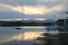 Evening light,  West Highlands of Scotland. Looking towards the Isle of Mull in the distance Royalty Free Stock Images