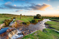 Evening Light at Windy Post on Dartmoor Stock Images