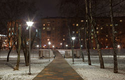 Evening lighting in park. Street lamps. Russia, Moscow Stock Photography