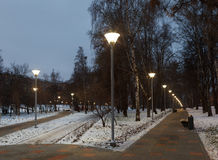 Evening lighting in park. Street lamps. Russia, Moscow Stock Photo