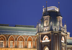 Evening lighting tower of museum Tsaritsyno Royalty Free Stock Photo