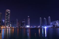 Evening lights in dubai, united arab emirates Royalty Free Stock Photos