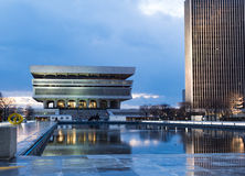 Evening Lights at Empire State Plaza. Dusk falls on the New York State Museum in Albany NY's Empire State Plaza Stock Photo