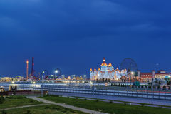 Evening lights entertainment Sochi Park, hotel Stock Photography