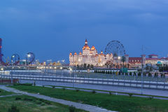 Evening lights entertainment Sochi Park, hotel Stock Images