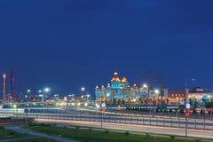Evening lights entertainment Sochi Park, hotel Royalty Free Stock Photo