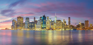 Evening Lights of Famous Manhattan Skylines, New York City Stock Photo