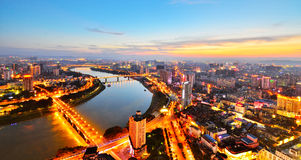 There is a red sunset over Nanning,Guangxi. China Royalty Free Stock Images