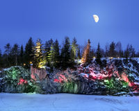 Evening lights in the marble quarry Ruskeala in Karelia in the w Royalty Free Stock Images