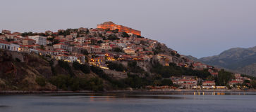 Evening lights of Molyvos with castle. Evening lights of Molyvos with castle restaurants hotels and bars stock image