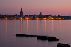 Evening lights reflected in the sea - Croatian coa Royalty Free Stock Images