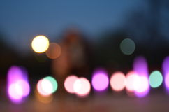 Evening lights refocused blurry background Stock Photos