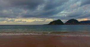 San Sebastian, Spain. Evening lights of San Sebastian, Spain. Sea and resort for summer vacation stock video footage