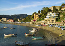 Evening on the  Ligurian beach at Levanto, La Spezia. LEVANTO, LA SPEZIA, ITALY  - JUNE 26, 2015. Evening on the  Ligurian beach at Levanto, La Spezia Royalty Free Stock Images