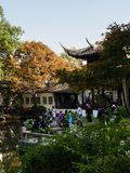 Evening at Lingering Garden, one of the famous classical gardens of Suzhou. Suzhou, China - October 30, 2017: Evening at Lingering Garden, one of the famous royalty free stock photo