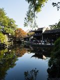 Evening at Lingering Garden, one of the famous classical gardens of Suzhou. Suzhou, China - October 30, 2017: Evening at Lingering Garden, one of the famous royalty free stock images