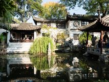 Evening at Lingering Garden, one of the famous classical gardens of Suzhou. Suzhou, China - October 30, 2017: Evening at Lingering Garden, one of the famous stock photo