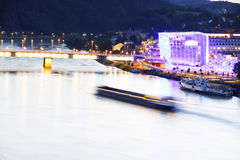 Evening in Linz. Traffic on the river Danube in Linz Royalty Free Stock Photography