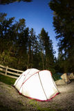Evening lit tent in camping Royalty Free Stock Images