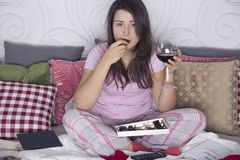 Evening of lonely spinster Royalty Free Stock Photos