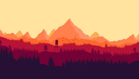 Evening look Landscape Illustration Royalty Free Stock Photos