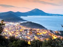 Evening Losinj. Panoramic view in the evening of a town known as Mali Losinj, Croatia Stock Photography