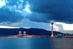 Evening of Macau bridge Royalty Free Stock Photo