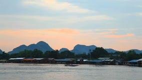 Evening at maeklong river stock video