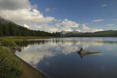 Evening at Maligne Lake in Canadian Rockies Royalty Free Stock Images