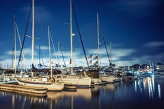 Evening in Marina Del Rey. Beautiful scenery of yachts at night in Marina Del Rey, Los Angeles, California Stock Photo
